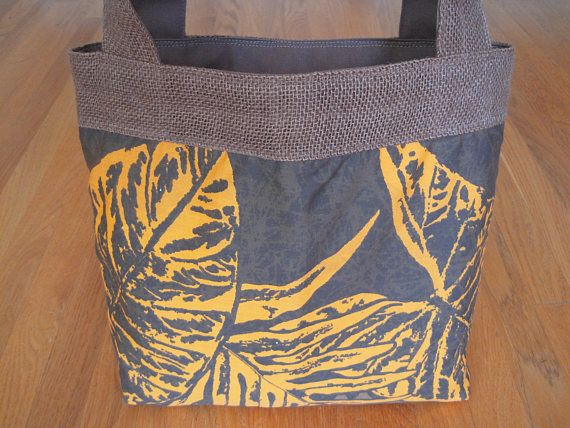 "Medium Tote Bag Hawaiian Gold Alocasia Leaves on Dark Brown COTTON BURLAP Duckcloth lined REVERSIBLE! Beach Men Women gift 6"" x 6.5"" Pocket! ~ Available on www.MaliakeiBags.com"