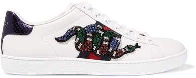 Gucci - Snake-trimmed Embellished Leather Sneakers - White   #Gucci #sneakers #ShopStyle #MyShopStyle click link for more information