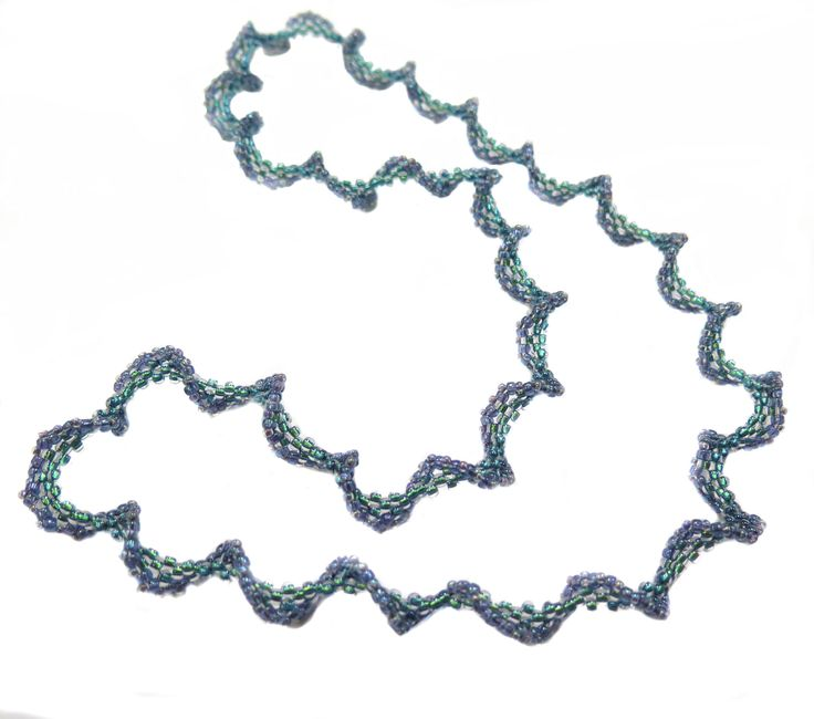 """Dancing Waves Necklace from Jill Wiseman. Easy beginner project - using flat peyote with increases (""""splitting the doubles"""") ~ Seed Bead Tutorials"""