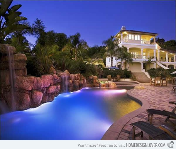 ingenious landscape lighting around pool. 15 Enchanting Swimming Pool Lights 24 best images on Pinterest  Pools pools