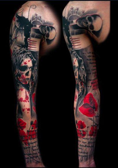tattoos Realistic Trash Polka feitas por Volko Merschky & Simone Pfaff do Buena Vista Tattoo Club, estúdio na Alemanha.