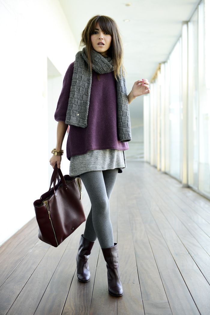 Casual fall layers. scarfsweaterleggingsmini skirt ...