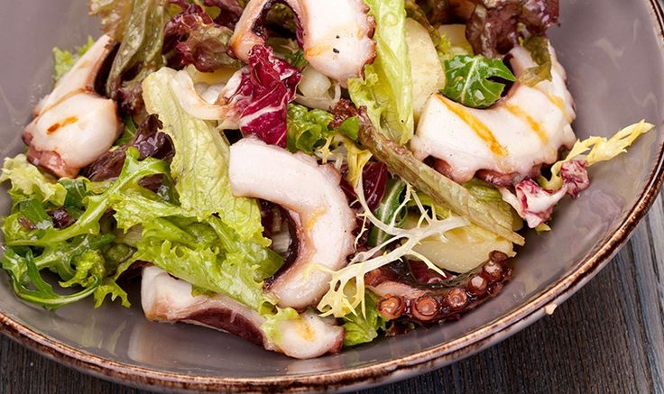 A delicious and fresh salad with octapus and mustard-hazelnut dressing by the famous greek chef Alexandros Papandreou