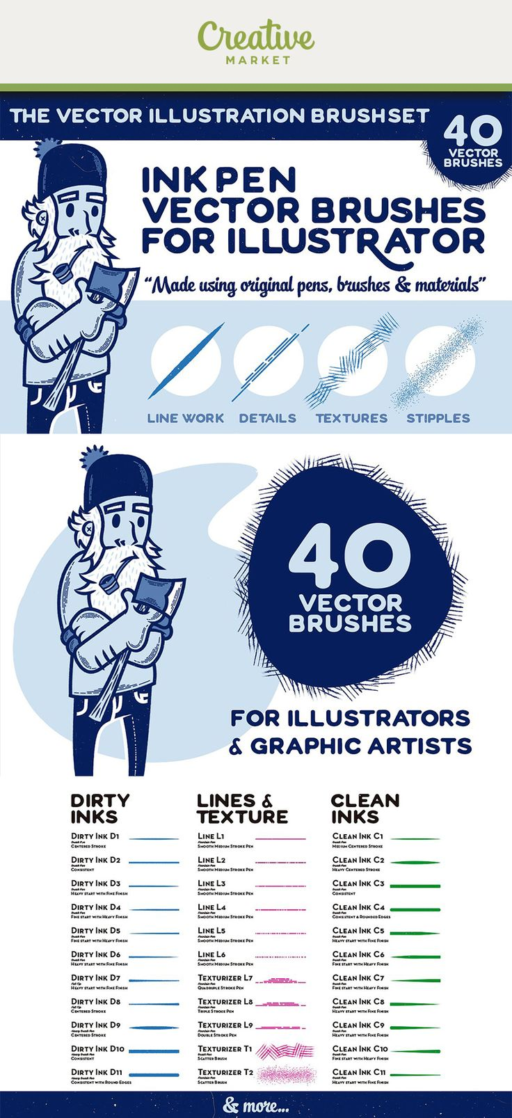 Ad: 40 VECTOR BRUSHES FOR ILLUSTRATORS & GRAPHIC ARTISTS. Have you ever wondered how some digital artists are able to create such realistic pen and ink illustrations with textures and everything? Now on Creative Market