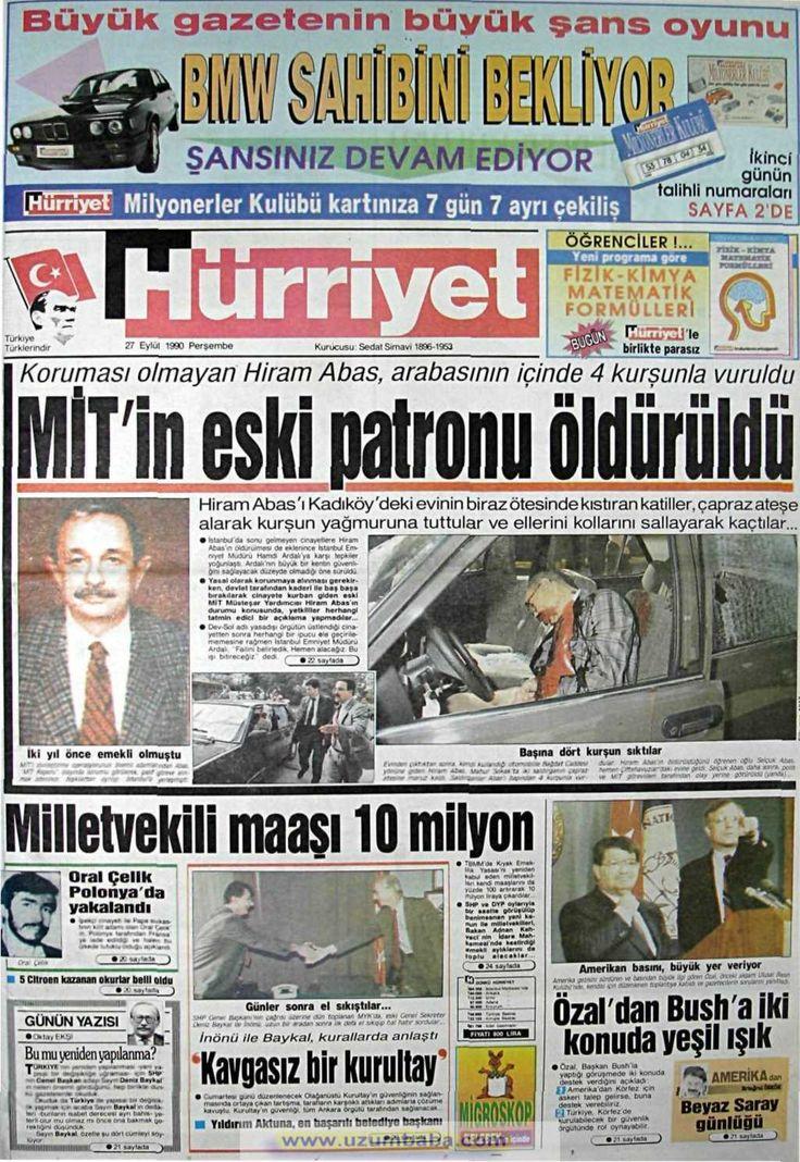 Hürriyet gazetesi 27 eylül 1990