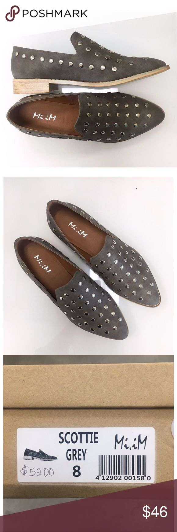 Scottie Studded Loafer in Grey Add an edge to any outfit with these studded loafers in a taupe grey. Runs slightly big. New in box. Mi.iM Shoes Flats & Loafers