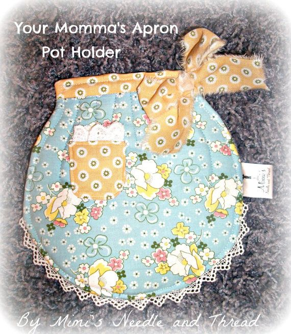 Your Momma's Apron retro handmade pot holder by mimisneedle