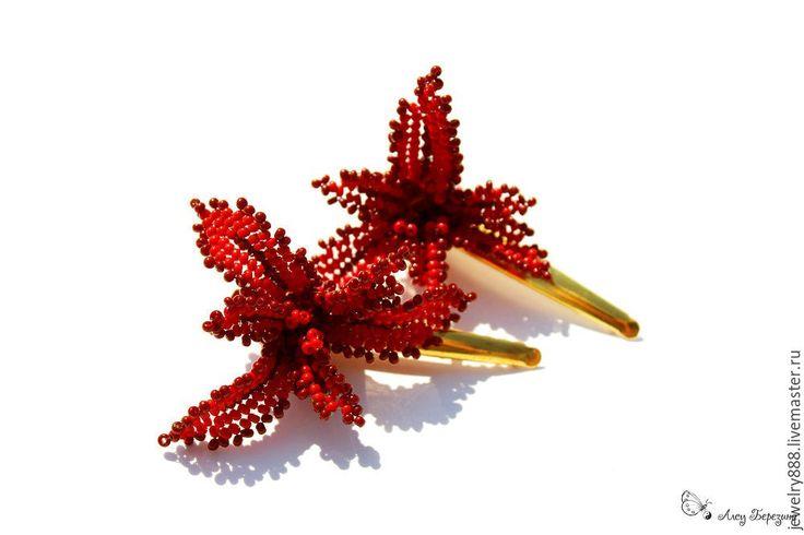 """Купить Украшение для волос из бисера, заколка """" Красная лилия"""" - заколка лилия"""