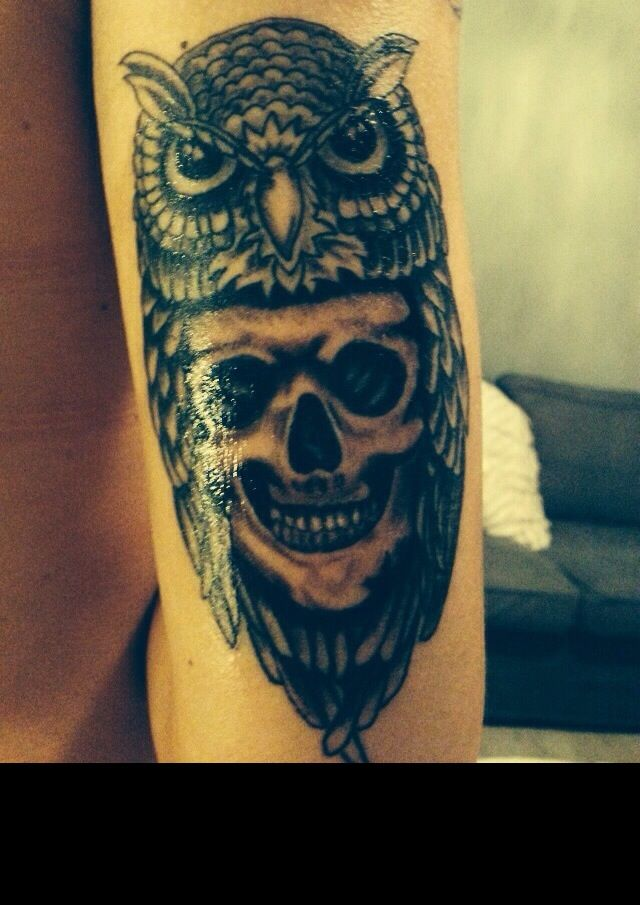Owl and skull black and grey