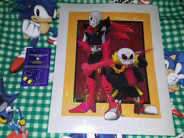 """Franchise: Undertale Size - 8 x 10"""" Paper: 32 lb Paper with radical glitter effects applied Artist: SEGAMew Basis of Inspiration: One of the most edgy AUs of Undertale. Free autograph can be requested"""