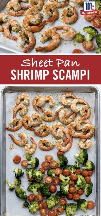 Enjoy the buttery, garlic-flavored goodness of this Sheet Pan Shrimp Scampi recipe. Each forkful is loaded with crisp shrimp, white wine and lemon juice. Broccoli florets and cherry tomatoes add color to round out this easy, one pan shrimp recipe.