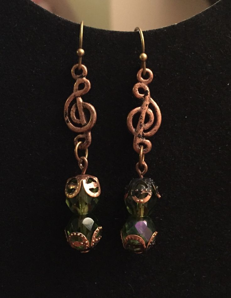 Copper and green crystal earrings by bees beads