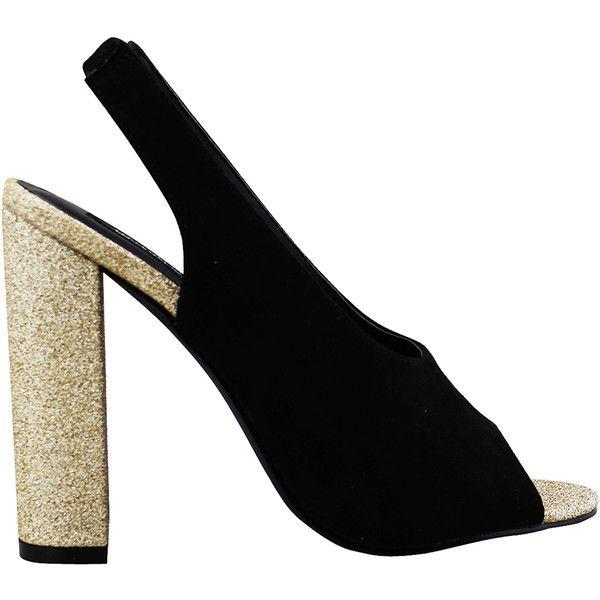 Michael Antonio Women's Hollin - Black - size 5.5 (2.940 RUB) ❤ liked on Polyvore featuring shoes, black, black slingback shoes, glitter high heel shoes, glitter shoes, high heel shoes and black sling back shoes