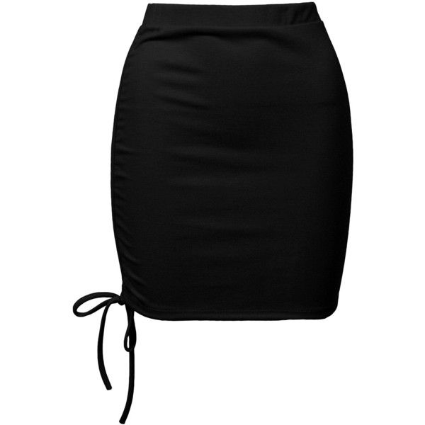 Sans Souci Black ruched mini skirt ($19) ❤ liked on Polyvore featuring skirts, mini skirts, black, high waisted short skirts, sans souci, high rise skirts, short skirts and pull on skirts