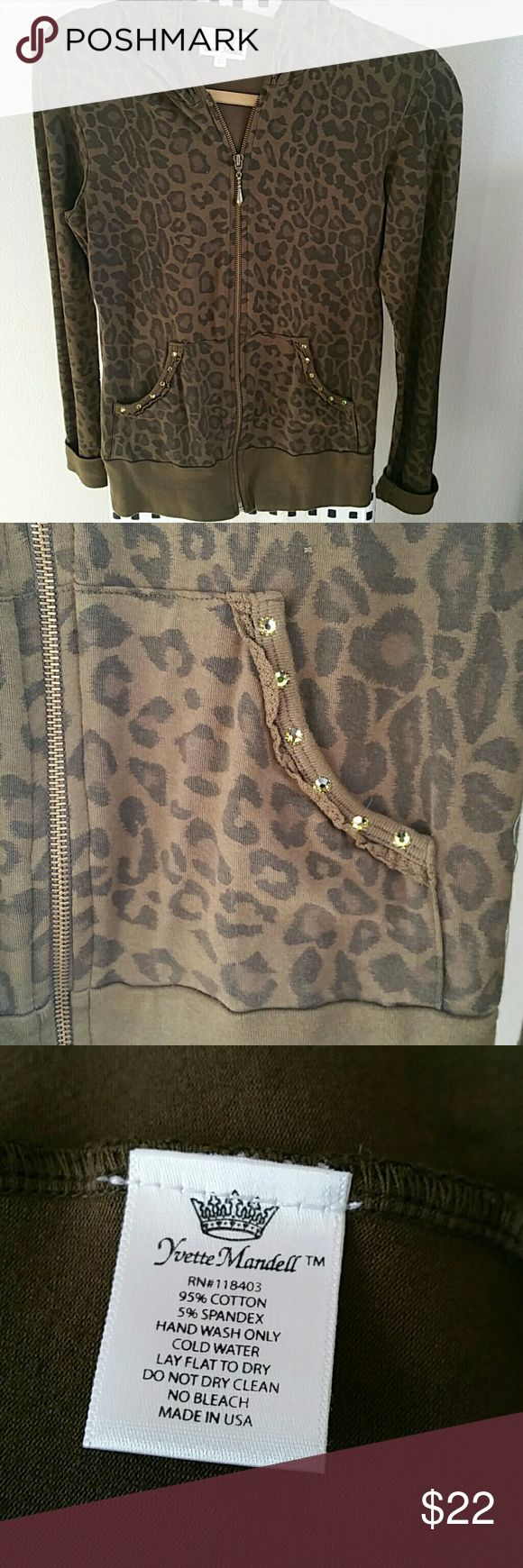 Yvette Mandell animal print zip up hoodie large Olive green animal print embellished zip-up hoodie with Swaroski crystals on pocket. In great condition no pilling but as I was taking the pictures I noticed a small loose thread showing in last picture. Tops Sweatshirts & Hoodies