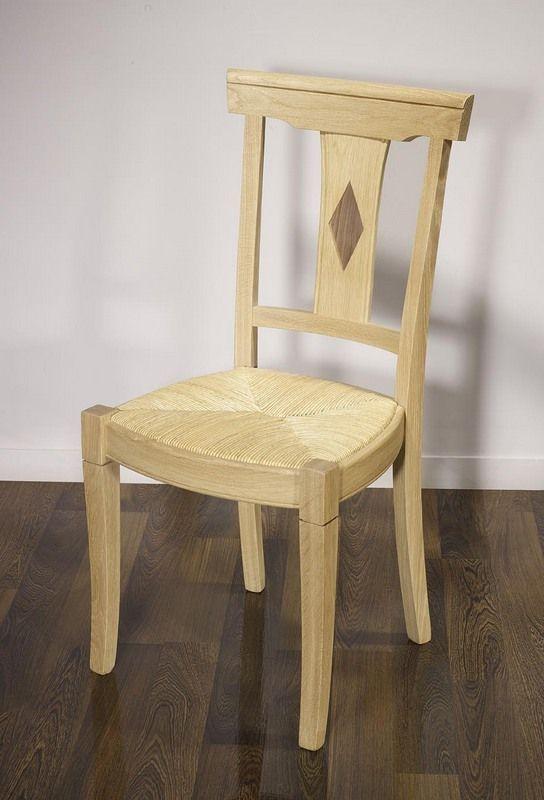 Chaise Arthur réalisée en Chêne Massif de style Louis Philippe Assise paillée, Finition Chêne Brossé