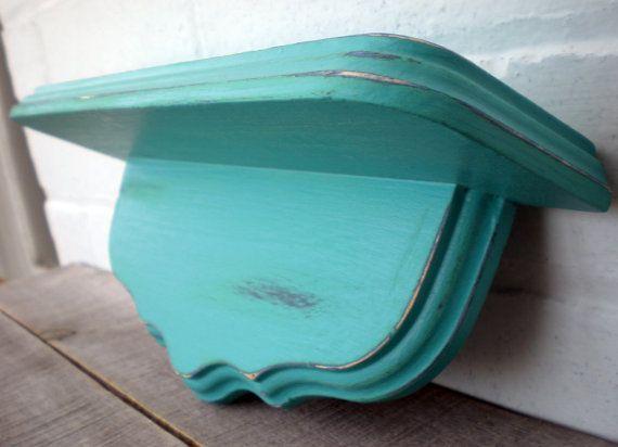Little wood shelf turquoise blue beach home by bigredbarnbam