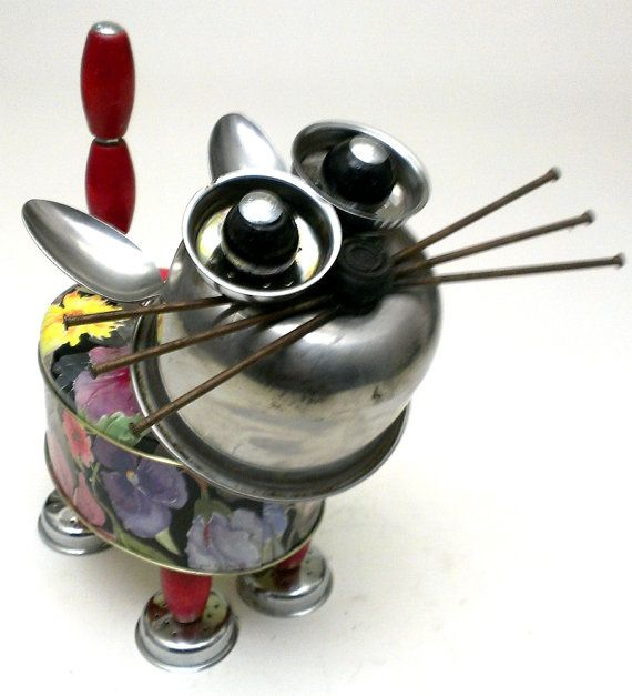 Cool+Cat+13+Bot+Assemblage+Feline+Cat+Robot+Sculpture+by+DonLJones,+$125.00
