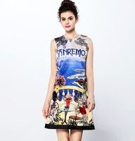 Yeni 2016 İlkbahar yaz marka moda high-end boncuk elbise kolsuz seaside çay saati baskı rahat elbiseler podyum pist