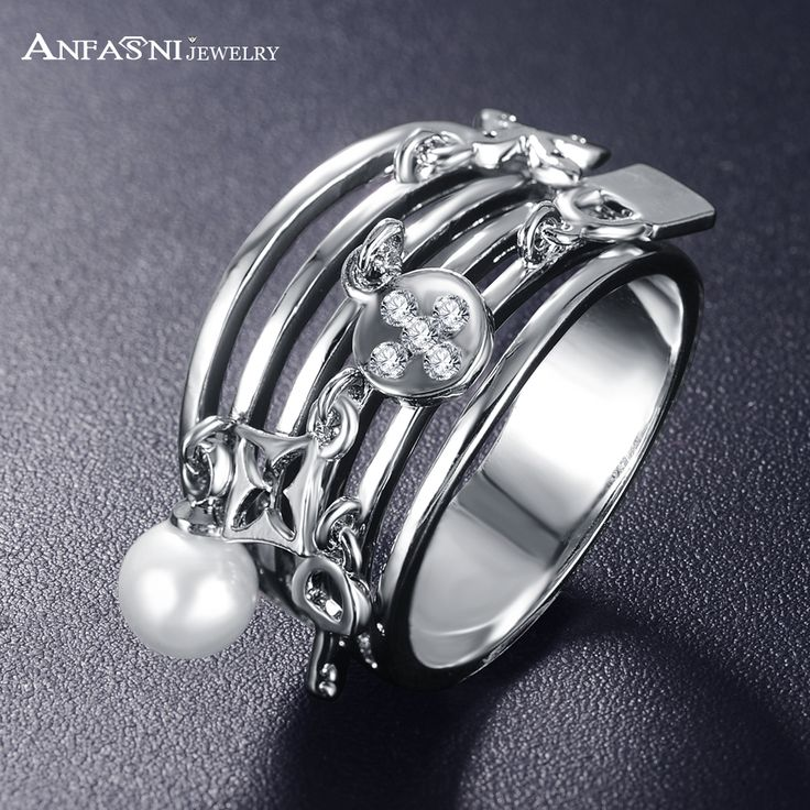 ANFASNI Vintage Multilayer Rings Silver Color Plated Finger Pearl Ring Fashion Jewelry Anel CRI0419-B
