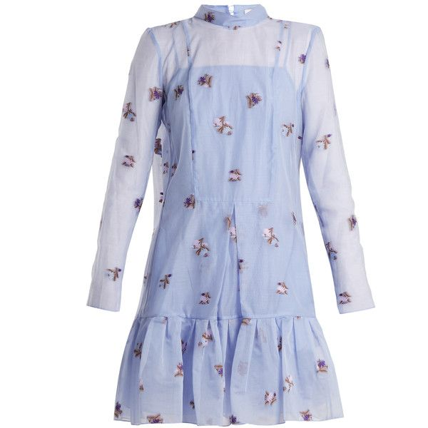 Erdem Cosima Ditsy Floral fil-coupé silk dress (30.985.925 IDR) ❤ liked on Polyvore featuring dresses, light blue, blue silk dress, blue evening dresses, light blue floral dress, special occasion dresses and floral print dress