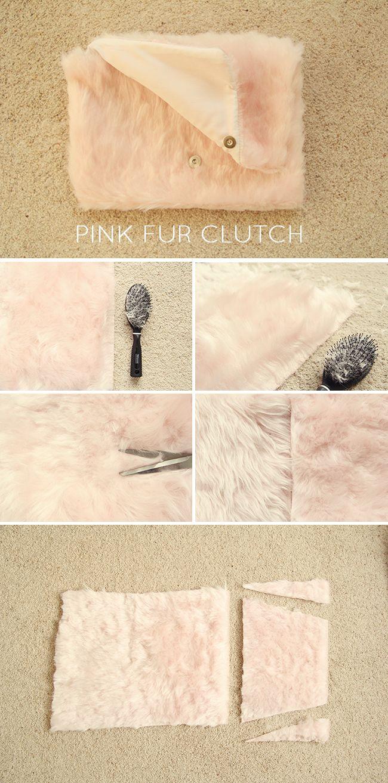 DIY// Pink Teddy Fur Clutch Bag | Fall For DIY