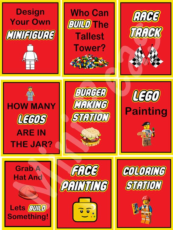 Lego Party Pack  9 Party Signs  Everything Is Awesome by MiniPeas -$25.00AUD