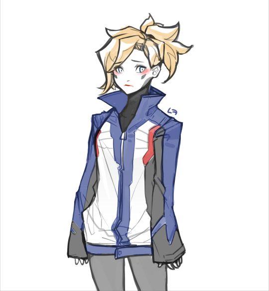 Mercy wearing soldier 76's jacket :D!!!!!!!!!!