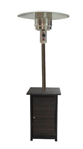 AZ Patio Heaters HLDS01-WHSQ Tall Square Wicker Patio Heater with Wheels by AZ Patio Heaters. $291.26. Hiland 87-Inch Square wicker patio heater. Made Of Resin. Gas type: Propane, butane Heat output: 41,000 BTU's. Wheels for easy mobility Matching wicker table. 87-Inch tall resin wicker patio heater with adjustable table. Square table design. Variable temperature control, up to 41,000 BTU's. Wheels for easy mobility, thermocouple and anti-tilt safety devices. Burner cover a...