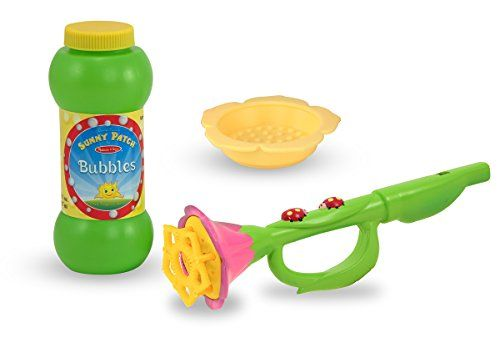 Melissa & Doug Sunny Patch Blossom Bright Bubble Trumpet - It looks like a flower from the garden, with two little ladybugs climbing up the stem. But dip the petals in bubble solution and give a blow, and this bubble trumpet whistles and bubbles to life! Kids can blow bubbles and sound at the same time, or use it without bubble solution for sound alone. ...