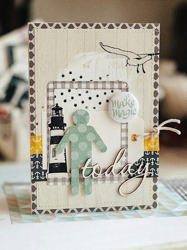 Днем, скрапбукинг открытки с маяком