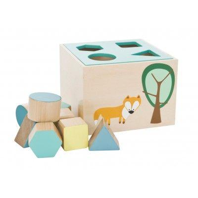 SEBRA Wooden Shapes Box Blue