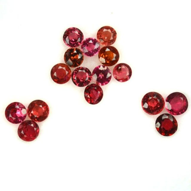 2.26 Cts Natural Red Spinel (3.4 x 3-mm) Round 16 Pcs Parcel Burmese - Mogo