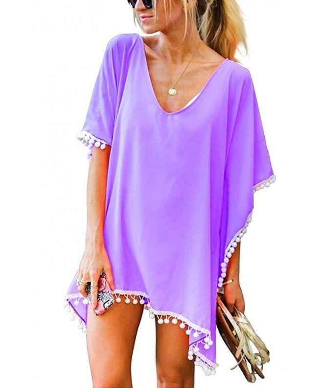 71824e12ab Women's Pom Pom Trim Kaftan Chiffon Swimwear Beach Cover Up - Purple -  CS18C03SL67,Women's Clothing, Swimsuits & Cover Ups, Cover-Ups #Swimsuits  #CoverUps ...