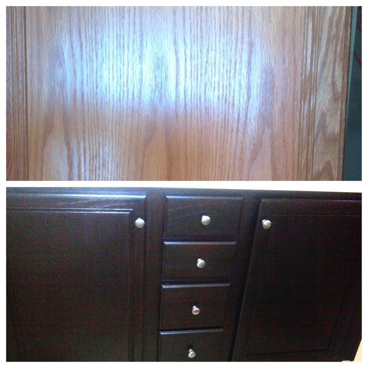 Ebony Stain To Plain Oak Cabinets Really Update This