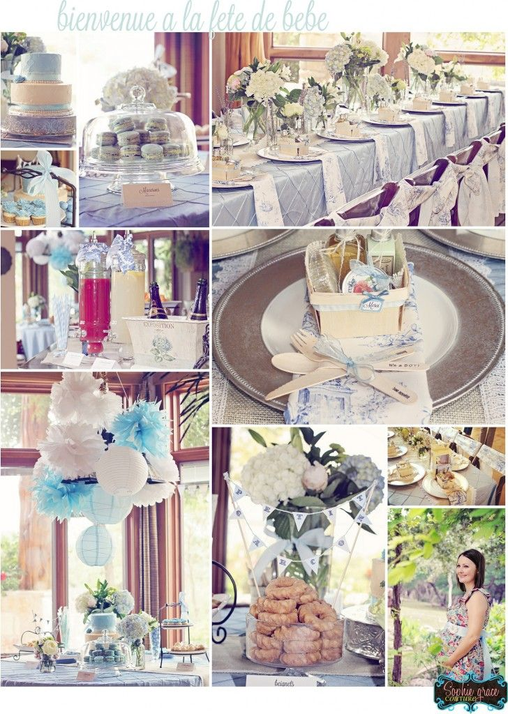 Petite Garcon Rustic French Inspired Baby Shower | Project Nursery. *cake plate, trifle jar, French pastries and Madeleines, hydrangeas, white frames*