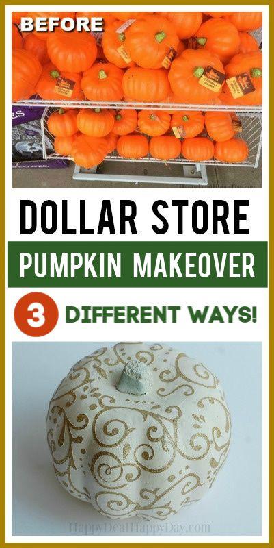Dollar Store Glitter Pumpkins Makeover – 3 Different Ways!