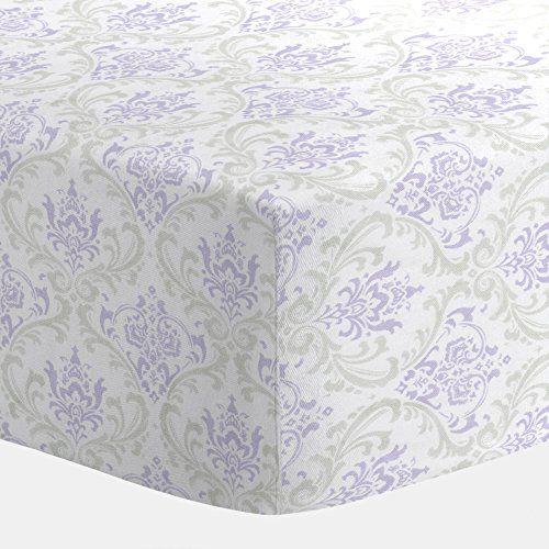 Carousel Designs Lilac and Silver Gray Damask Crib Sheet