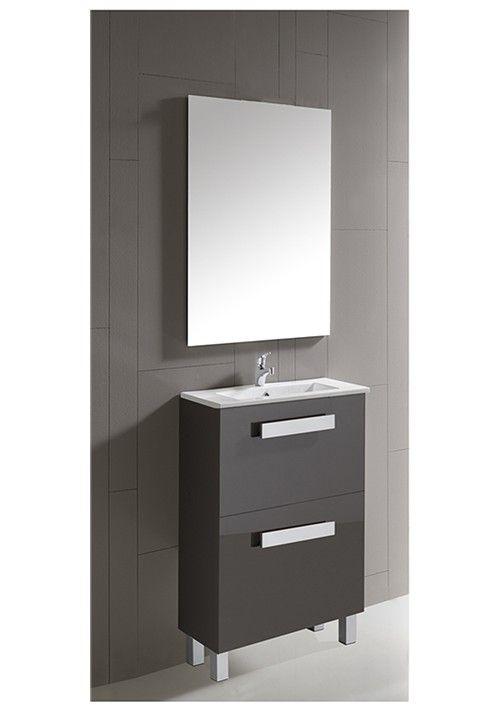 Conjunto de mueble de baño Little 50 cm. en gris cos cajones y con lavabo cerámico por sólo 162,45 €. #decoracion #hogar #baño
