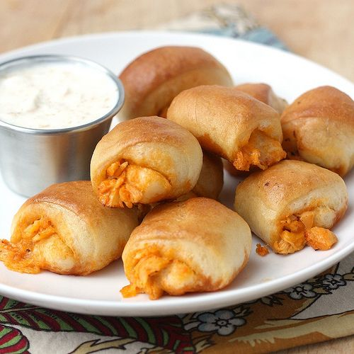 Buffalo Chicken Bites ~ Instead of making your own dough, use store-bought pizza dough.