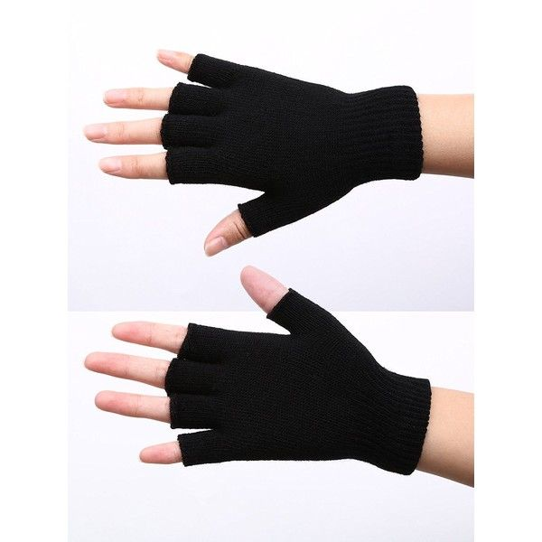 Satinior 2 Pair Black Half Finger Gloves Unisex Winter Stretchy Knit... ($5) ❤ liked on Polyvore featuring accessories, gloves, fingerless gloves, cold weather gloves and unisex gloves
