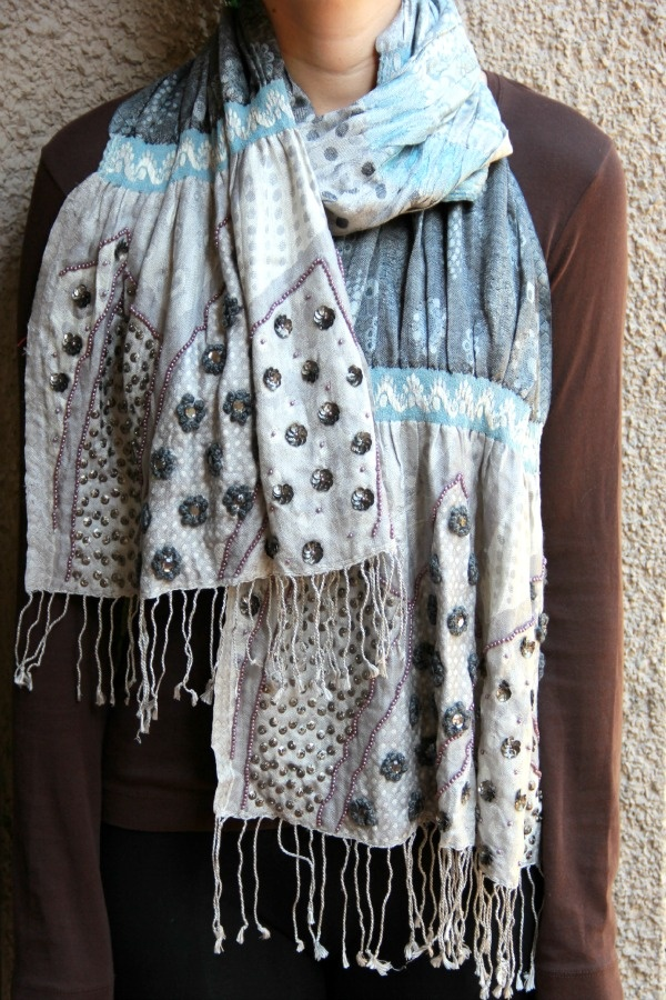 Embroidered Scarf in Abstract Print 100% silk. A wearable piece of art.   #scarves #accessories #embroidery