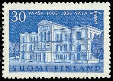 Postage stamp celebrating 350th anniversary of the city of Vaasa, Finland, 1956