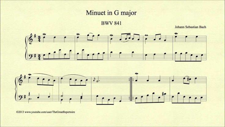 Bach, Minuet in G major, BWV 841, Harpsichord