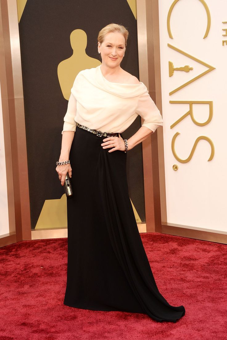 Meryl Streep in classic black & white at The Oscars 2014