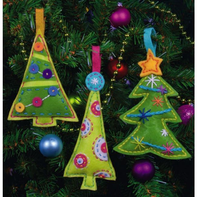 Christmas Felt Craft Ideas Part - 50: Cheery Tree Ornaments - Felt Christmas Ornament Kits At Weekend Kits