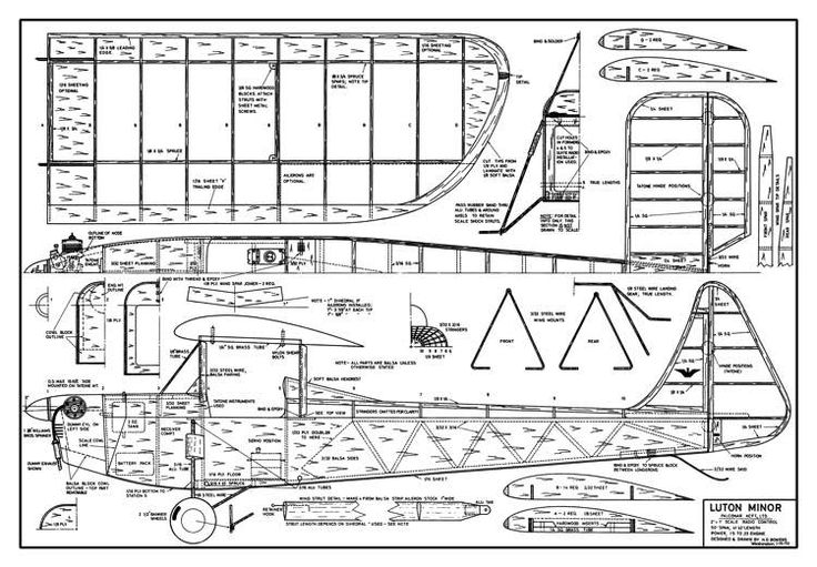 The Luton Minor is one of the model airplane plans available for download and printing.