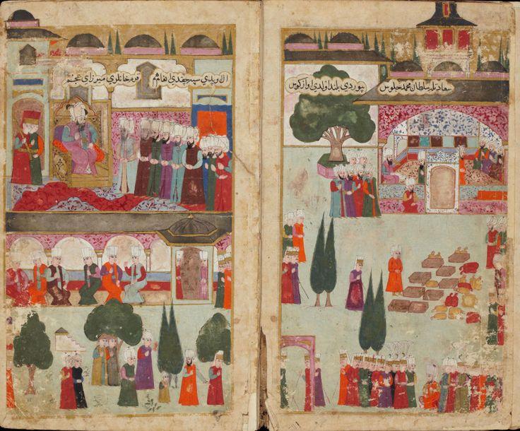 Mehmed III's Coronation in the Topkapi Palace in 1595 (fol. 15b-16a).
