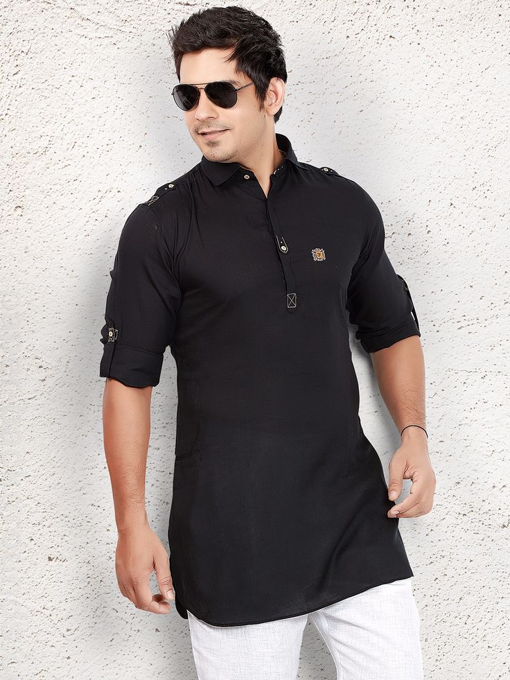 Black Cotton Short Pathani