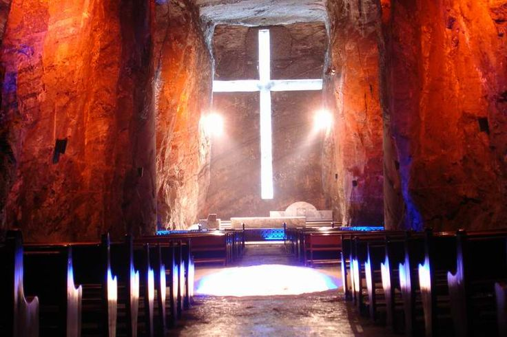 Cathedral de Sal - Zipaquira, Cundinamarca. Definitly a piece of art!  His cathedral in a salt mine at 180m under the earth, would not be anything without the illumination who give to it its majestic aura! Red, blue, green and white, represent: earth, heaven, hope, and Spirit of God.  Even if you are not Catholic, or even Christian, you should come. Come and be transported into another world!  The Columbian People are great God Loving Folk! Great Artist!